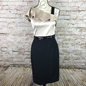 WHBM  Sequin Ruffle One Shoulder Dress Size 4